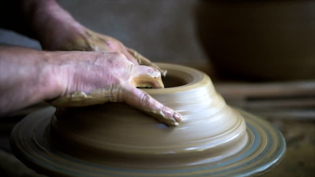 wheel pottery process. - ceramics stock videos & royalty-free footage