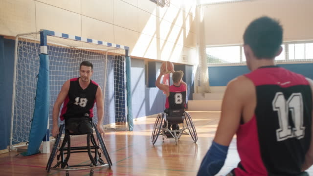 wheelchair basketball team warming up before competition - wheelchair basketball stock videos & royalty-free footage
