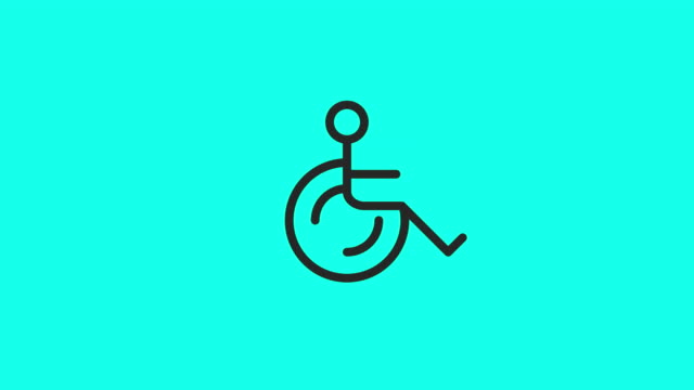 wheelchair icons - vector animate - wheelchair stock videos & royalty-free footage