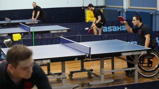 wheelchair table tennis - adaptive athlete stock videos and b-roll footage