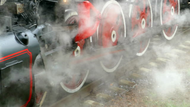 wheels of an old steam locomotive  - (with sound) - locomotive stock videos & royalty-free footage