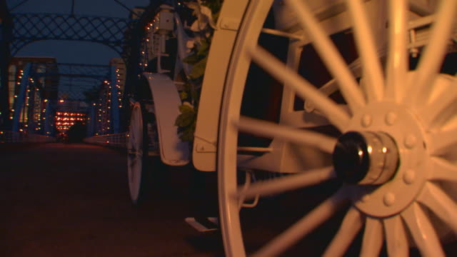 Wheels of horse drawn carriage as its moving