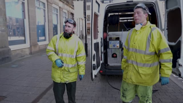 when the united kingdom implemented a lockdown in march to counter the spread of the coronavirus, two friends who run a scottish cleaning firm in ayr... - ayr stock videos & royalty-free footage