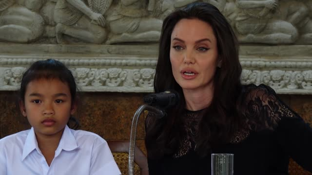 'Where will it screen' Angelina Jolie attends a press conference for the premiere of 'First They Killed My Father' on February 18 2017 in Siem Reap...