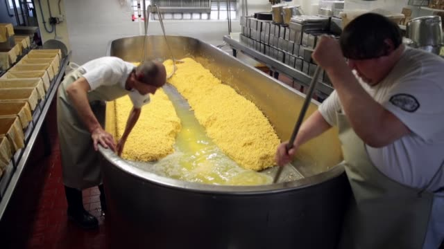 whey is removed from a vat of colby cheese at the widmer's cheese cellars on june 27, 2016 in theresa, wisconsin. record dairy production in the... - siero video stock e b–roll