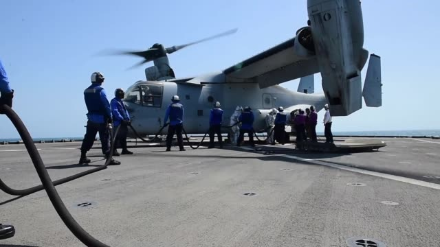 Whidbey Islandclass amphibious dock landing ship USS Fort McHenry conducts flight operations while operating in the Persian Gulf