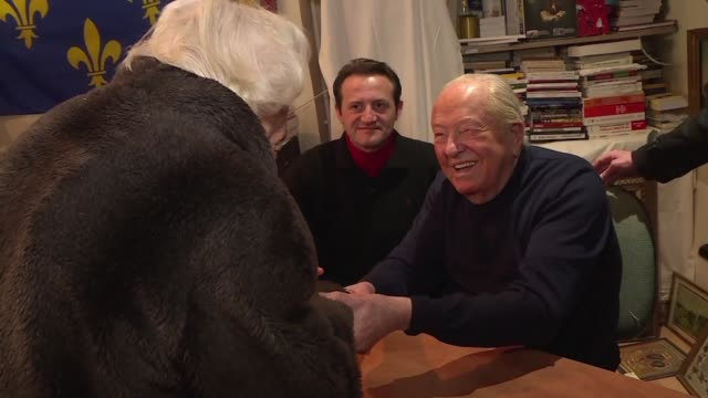 while his daughter holds a major summit in the northern city of lille former far right leader jean marie le pen signs copies of his memoirs at a... - lille stock videos & royalty-free footage