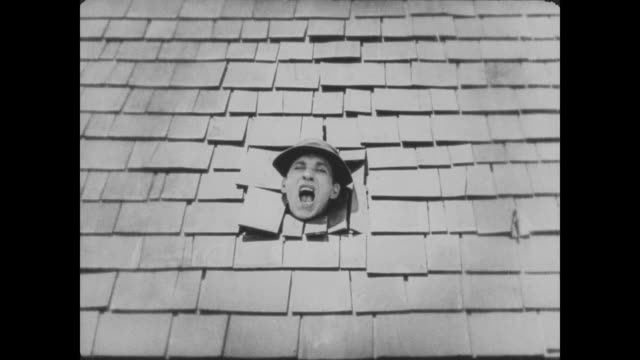1920 While trying to hoist a piano into the house, man (Buster Keaton) unknowingly turns a rug into a trampoline and sends a man through the roof