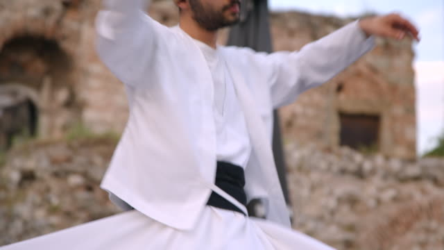 whirling dervish dancer in istanbul, turkey - sufism stock videos & royalty-free footage