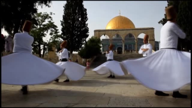 whirling dervishes group ensar brothers perform at the dome of the rock at the alaqsa mosque compound in jerusalem after performing during the nabi... - sufism stock videos & royalty-free footage