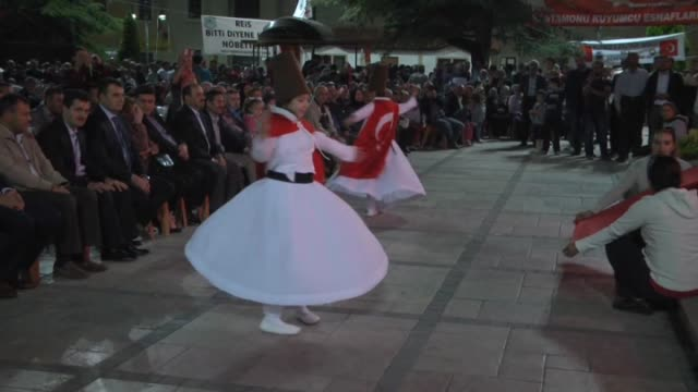 whirling dervishes perform during as people gather to protest against parallel state/gulenist terrorist organization's failed military coup attempt... - sufism stock videos & royalty-free footage