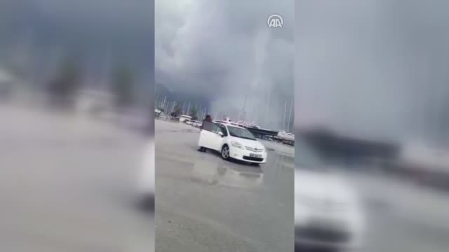 a whirlwind causes damage in marmaris district of turkey's mediterranean resort city of mugla on november 21 2018 - marmaris stock videos & royalty-free footage