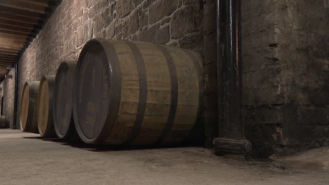 Whisky barrels at a distillery