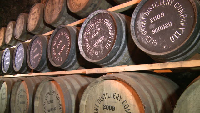 ms tu whisky casks in warehouse / rothes, speyside, scotland - number stock videos & royalty-free footage