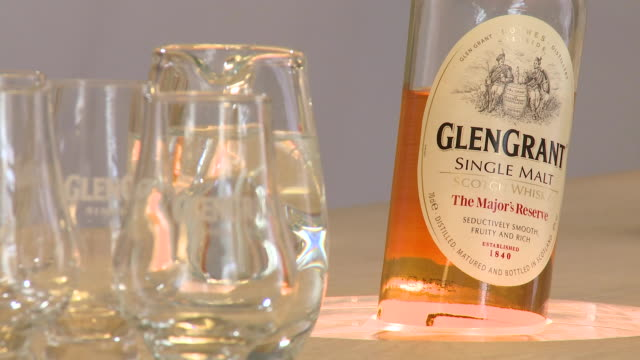 cu whisky showroom at visitors centre / rothes, speyside, scotland - five objects stock videos & royalty-free footage