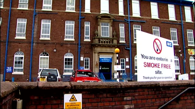 whistleblowers' rights liverpool alder hey children's hospital ext defaced accident emergency sign outside hospital pan reporter to camera - children's hospital stock videos & royalty-free footage