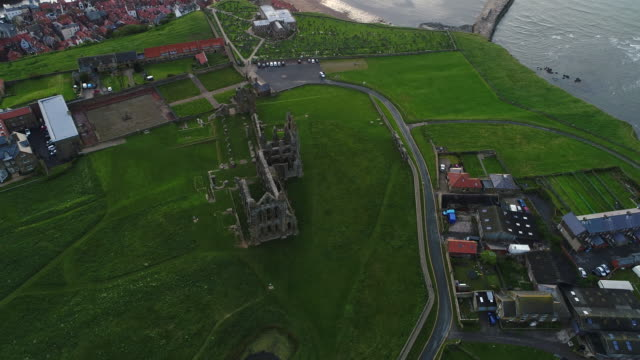 whitby abbey circling aerial video - whitby north yorkshire england stock videos & royalty-free footage