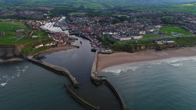 whitby aerial view from the north sea - whitby north yorkshire england stock videos & royalty-free footage