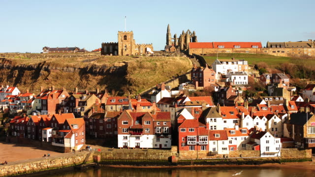 whitby harbor. - yorkshire england stock videos & royalty-free footage
