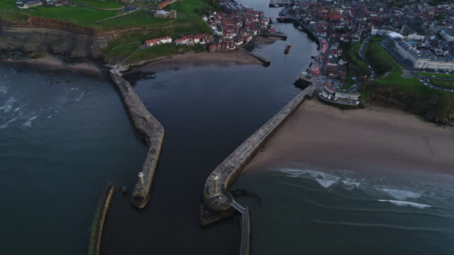 whitby harbour and town aerial video - whitby north yorkshire england stock videos & royalty-free footage