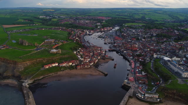whitby town and horbour aerial video - whitby north yorkshire england stock videos & royalty-free footage