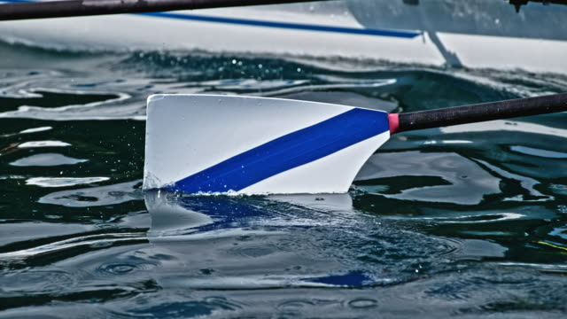 SLO MO White and blue blade of an oar cutting through the water surface in sunshine