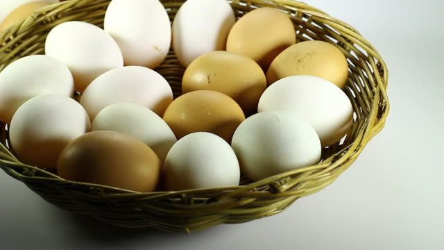White and Brown eggs in the basket