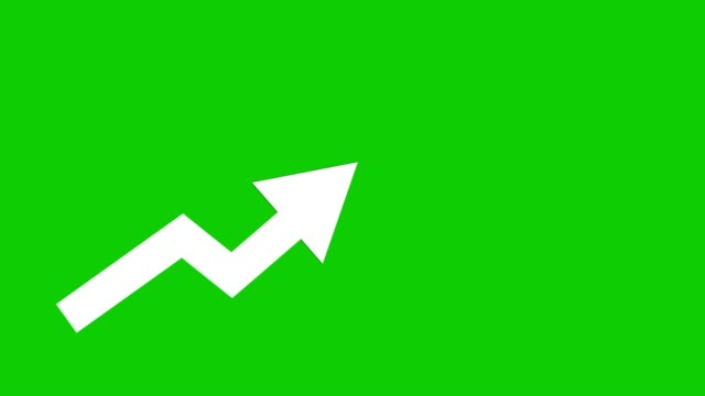 white arrow going up animated iconon green background. economic simple moving arow - graph stock videos & royalty-free footage
