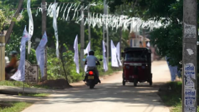 White banners and streamers in Negombo in memorial for those killed in the Sri Lanka terror attacks