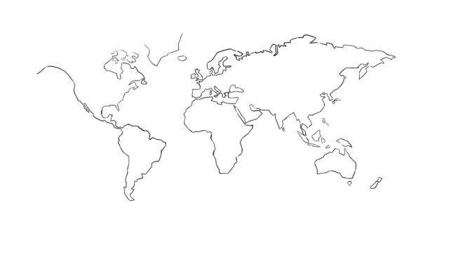 white board animation world map - physische geographie stock-videos und b-roll-filmmaterial