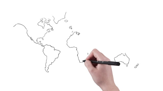 white board animation world map with hand writing - map marker stock videos and b-roll footage