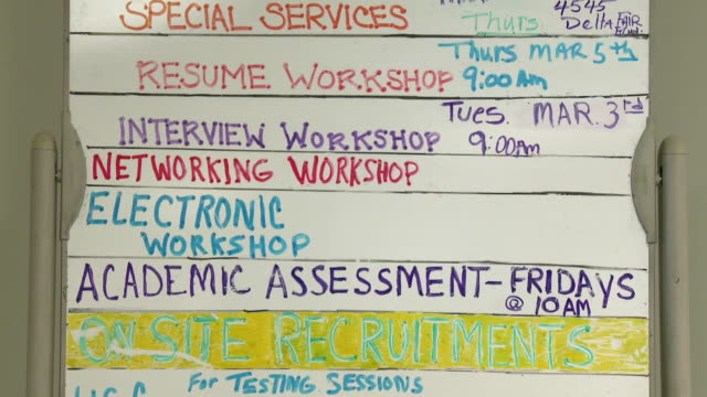 White board with timetable of various workshops in job center/ Antioch California USA/ AUDIO