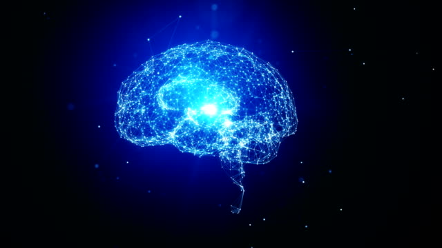 White Brain Object Made With White Dots Spinning On Blue Background - Artificial Intelligence Concept