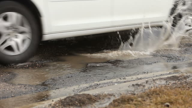 White Car Splashes through Road Pothole