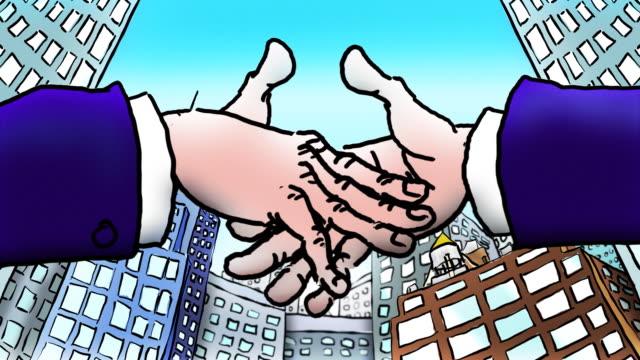 vídeos y material grabado en eventos de stock de blanco de dibujos animados manos agitar en frente de oficinas transparente - aferrarse