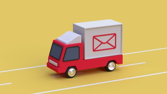 white car/truck yellow scene post office communication business delivery concept 3d rendering - mail stock videos & royalty-free footage