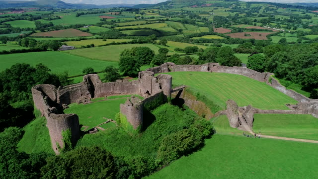 white castle ruins, wales, united kingdom - wales stock videos & royalty-free footage