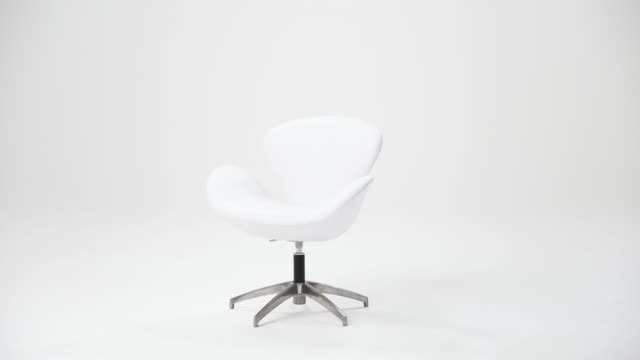 white chair on a white background - office chair stock videos & royalty-free footage