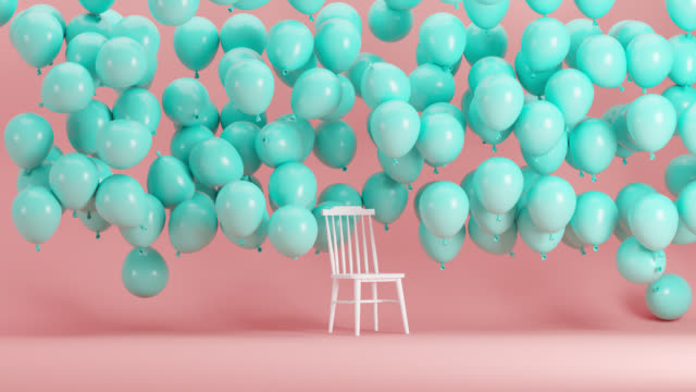 White Chair Standing with blue balloons floating in pink background room. minimal idea concept 3d animation.