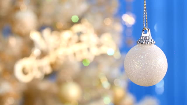 white christmas ball ornament close - up. - ornament stock videos and b-roll footage