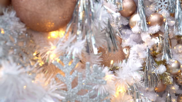 white christmas tree in 4k footage - ornament stock videos and b-roll footage