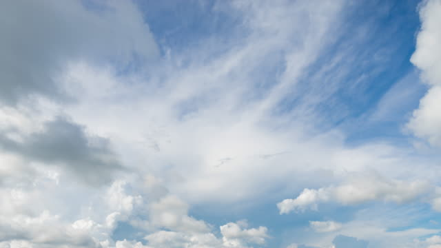 white cirrostratus clouds in blue sky, time lapse video - wispy stock videos and b-roll footage