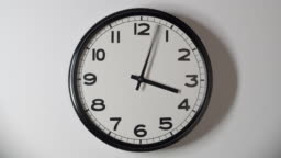 White Clock Face Close Up in Time Lapse on White Wall