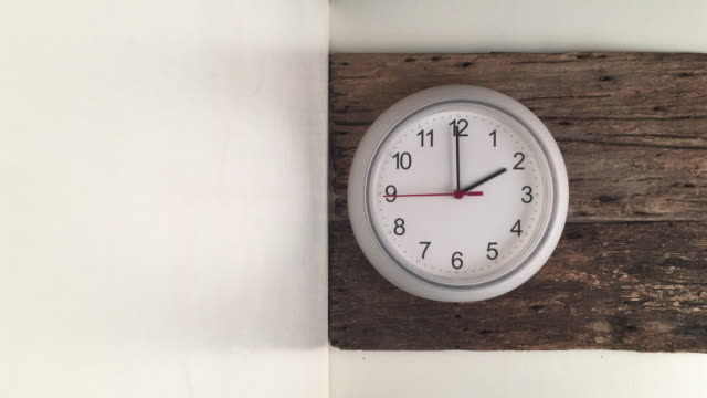 white clock on the wooden wall