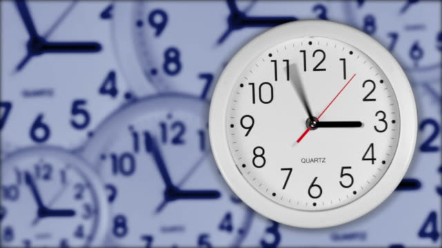 A white clock?s hands spin over a composited clock background.