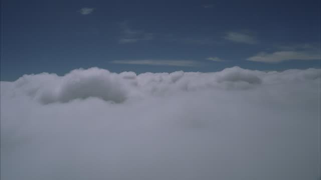 White clouds span a blue sky.