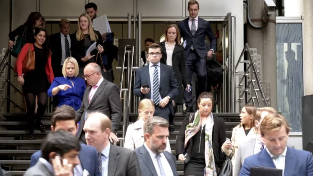 White Collar Workers Leaving Office Building