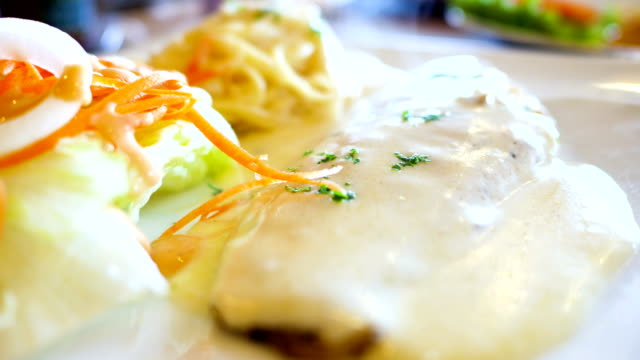 White Cream Sauce on Grilled Fish, Close-up shot