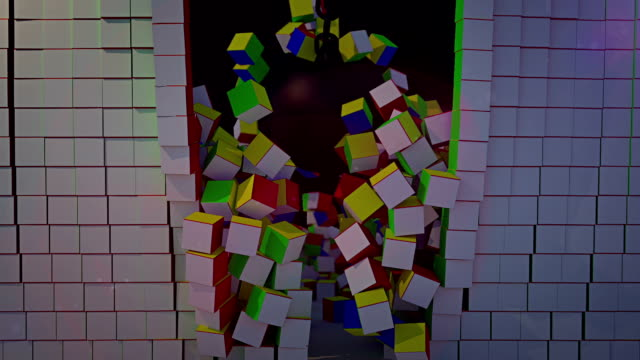 vidéos et rushes de illustration abstraite de mur de cubes blanc cassé de boulet de démolition à collor - reconstruction