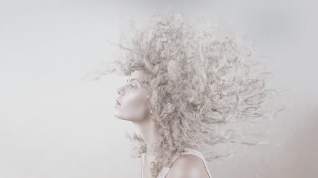 white curly dynamic hairdo - human hair stock videos & royalty-free footage